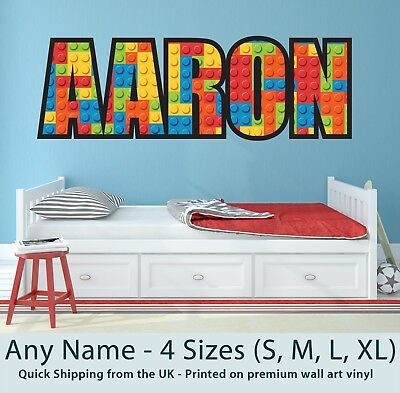 Childrens Name Wall Stickers Personalised Lego  - Perfect for Boys Girls Bedroom