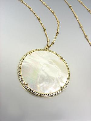 """GORGEOUS Urban Artisanal Mother of Pearl Shell Gold Chain 30"""" Long Necklace"""