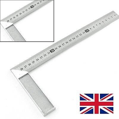 UK 30cm Stainless Steel Right Measuring Rule Tool Angle Square Ruler 12 inches