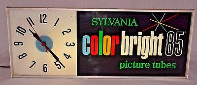 Sylvania Colorbright 85 Picture Tubes Light Up Advertising Clock Working