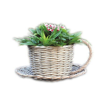 Coffee Cup Saucer Garden Planter Natural Wicker Outdoor Basket Flower Plant Pot