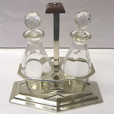 Vintage Silver Plated Oil and Vinegar Set circa 1920 stock id 6627