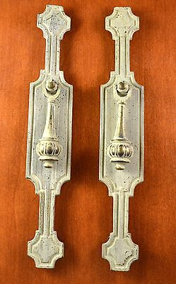 Set of 2 Vintage KEELER BRASS #N5491 Backplates & Teardrop Pulls BRASS w/ Taupe