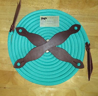 "Rose Lodge 22' x 9/16"" TURQUOISE Blue Yacht Rope Mecate w BROWN Slobber Straps"