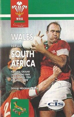 WALES VERSUS SOUTH AFRICA  26th NOVEMBER 1994 RUGBY PROGRAMME