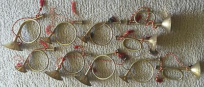 Lot Of 10 Vintage Copper Christmas Ornaments 6 French Horns and 3 Trumpets