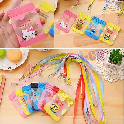 New Silicone Cartoon ID Card Holder Card Case Badge Necklace Neck Strap Lanyard