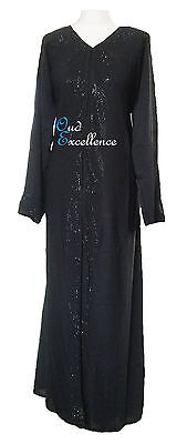 Gorgeous Open Nidha Abaya with Black Stones - Jilbab Batwing Kaftan Dress Kimono