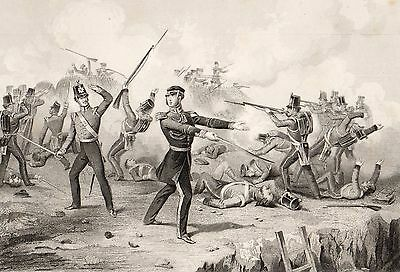Crimean War,redan,colonel Windham,battle Scene 1854,antique Steel Engraved Print