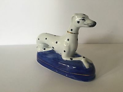 Elegant Handpainted Ceramic Dalmatian on Blue Pillow with Gold Accents