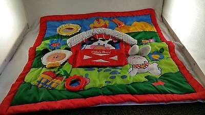 Fisher Price Vintage Activity Tummy Time Play Mat Quilt Baby Blanket Farm 1983