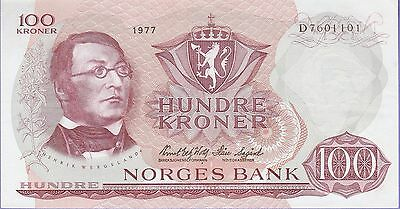 Norway 100 Kroner Banknote 1977 Choice Extra Fine Condition Cat#38-H-1101