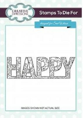CREATIVE EXPRESSIONS Cut Mounted ZENTANGLED Happy Hearts & Flowers UMS684