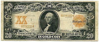 1906 $20 Gold Certificate Large Size Note Currency - USC - JT818