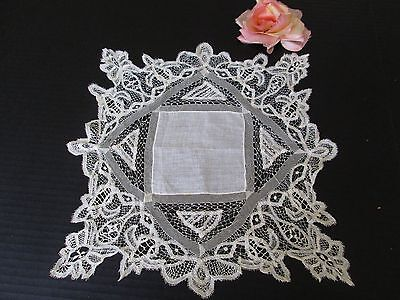 Antique Linen And Brussels Lace Wedding Hankie/handkerchief