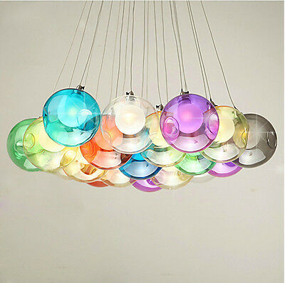 Colorful Bubble Glass Pendant Light G4 LED Chandelier Ceiling Lamp Fixture New