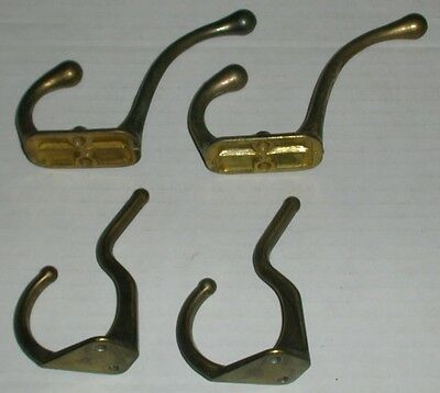 "4 Brass Coat Hooks 2 - 3"" and 2 - 3 1/2"""