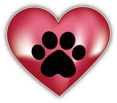 Animal Paw Heart Car Bumper Sticker Decal 5'' x 4''