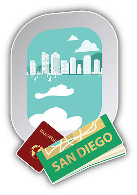 San Diego City Car Bumper Sticker Decal 3'' X 5''