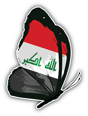 Iraq Flag Butterfly Car Bumper Sticker Decal 4'' x 5''
