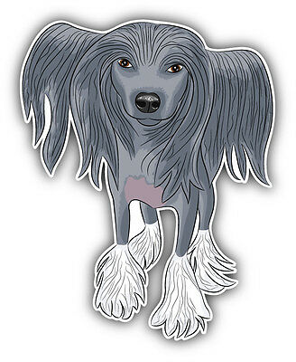 Chinese Crested Dog Car Bumper Sticker Decal 4'' x 5''