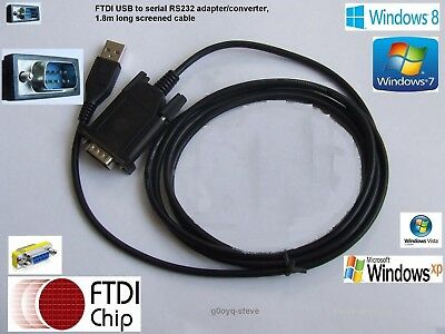 FTDI USB to serial RS232 adapter/converter, 1.8m screened cable + Gender changer