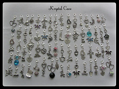 BULK PACKS OF 20/40/50 ~~MIXED~~ TIBETAN SILVER CHARM CLIPS (Plus Free Gift)