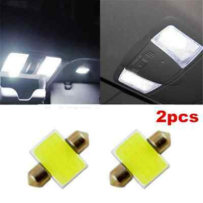 2pcs 31mm 12smd COB LED DE3175 Light Bulbs For Auto Car Interior Dome Map White