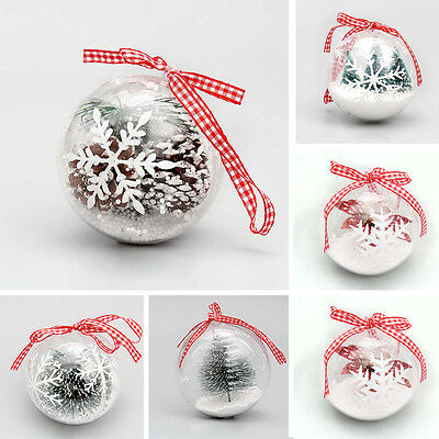 Hanging Ball Christmas Baubles Clear Fillable Xmas Tree Decorations Ornaments