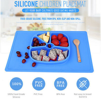 New Baby Kids Safe Placemat Suction Plate One-piece Silicone Feeding Plate Tray