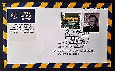 Germany Frankfurt to Koln 1966 First Flight Cover FDC