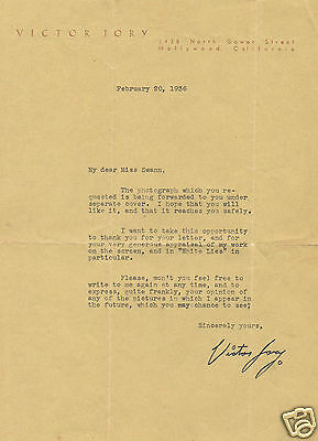Victor Jory Canadian Film Actor Hand signed Vintage Personal headed Letter  1936