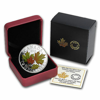 2014 1 oz Silver Canadia $20 Majestic Maple Leaves with Colours