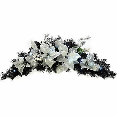 Black Silver Decorated Pre-Lit Arch Garland Christmas Decoration LED Lights 90cm