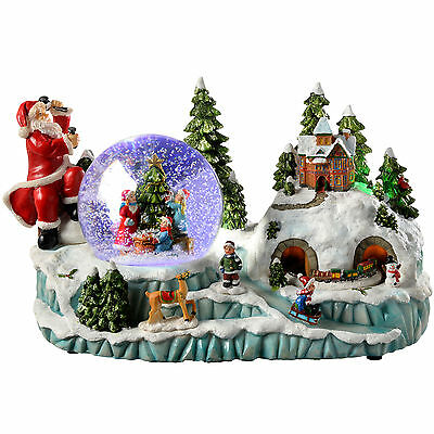 30 cm Scene Musical Animated Snow Globe with Moving Train Christmas Decoration