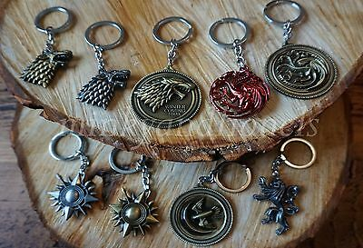 Game Of Thrones Metal Key Rings Key Chains Choice Of Designs/Colours Free Post