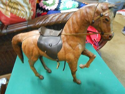 "Outstanding LEATHER ....HORSE Figure/Statue  with Saddle 13"" height ....#2..SALE"