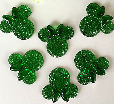 6PCS Green coLOR Minnie's BOW Flat Back Resin Scrapbooking For phone/Craft new@1