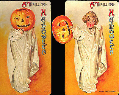 Vintage HALLOWEEN MECHANICAL GREETING POSTCARD Rare! MINT/Sealed B. SHACKMAN