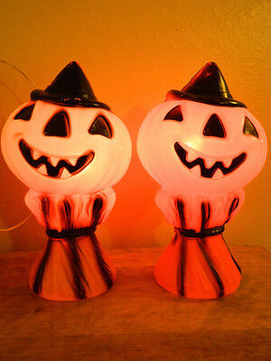 Vintage Halloween Pumpkin Jack-O-Lantern Light Lamp 1969 60s Empire Plastic