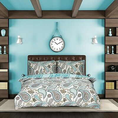 Paisley Teal Duvet Cover Bedding Quilt Set Pillowcases Single Double King Modern