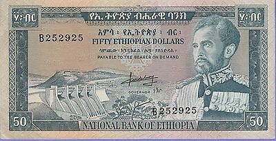 Ethiopia 50 Ethiopian Dollars Banknote 1966 NIce Extra Fine Condition Cat#28-A