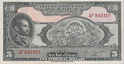 Ethiopia 5 Ethiopian Dollars Banknote (1945) About Uncirculated Cat#13-H-2401