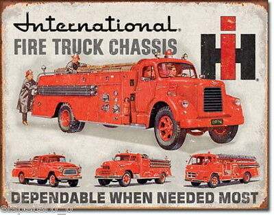 Tin Sign 31 x 40, International Fire Truck Chassis, USA Advertising Art. #1680