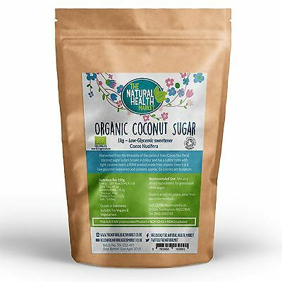 Organic Coconut Sugar RAW Coconut Blossom Palm Sugar Low GI Soil Association