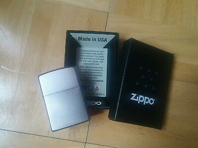 Zippo Windproof Satin Finish Chrome Lighter, # 205, New In Box