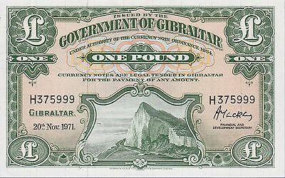Gibraltar 1 Pound Banknote 20.11.1971 Uncirculated Condition Cat#18-B-5999