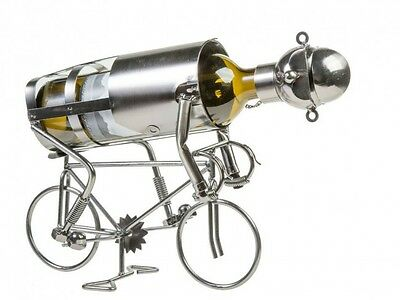 Contemporary Cyclist Metal Wine Bottle Holder Kitchen Table Ornament Décor Gift