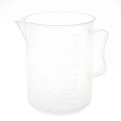 1000mL Capacity Clear Plastic Graduated Laboratory MeasuRing Set Beaker N3
