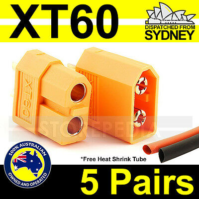 XT60 Nylon XT-60 Connectors (5 Pairs) Male Female Bullet Plugs RC Lipo Battery